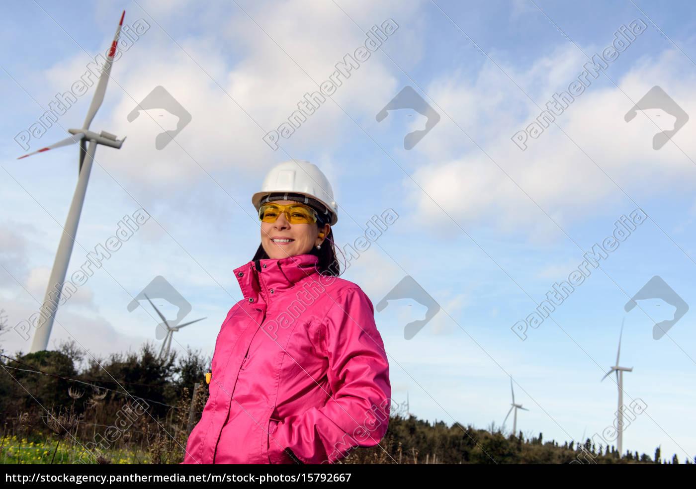 woman, engineer, checking, wind, turbines. - 15792667