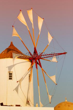 windmill in oia santorini windmill in