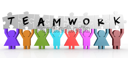 puppet hold puzzle with teamwork word