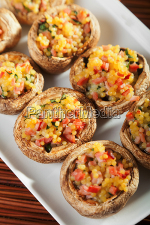 mushrooms stuffed with couscous