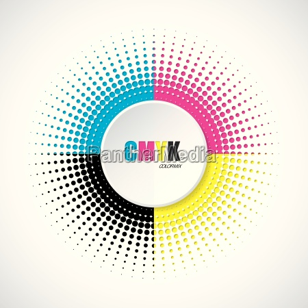 abstract cmyk halftone background with 3d