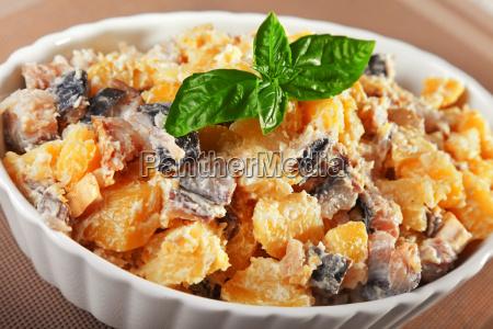 potato salad with marinated fish potato