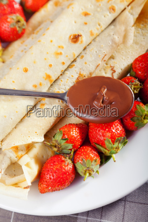 pancakes with chocolate and strawberries pancakes