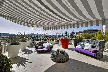modern terrace with awnings