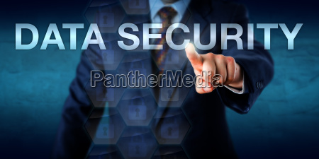 businessman, touching, data, security, onscreen - 15796583
