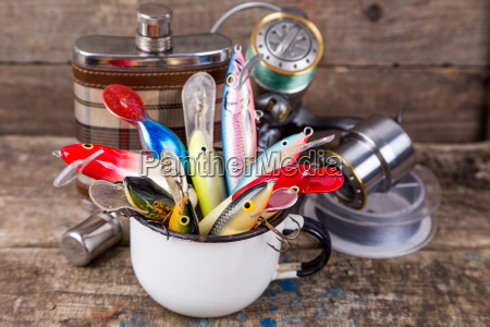 fishing, baits, wobblers, protrude, from, white - 15797113