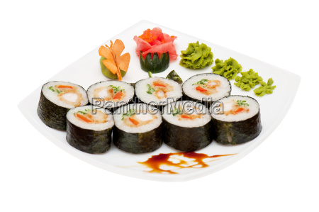 roll, with, smoked, eel, and, salmon - 15798969