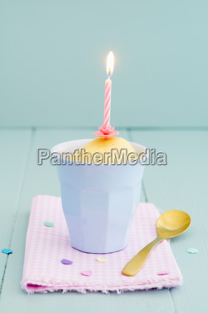 cup cake with candle