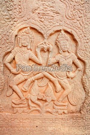 apsara carving angkor wat cambodia apsara