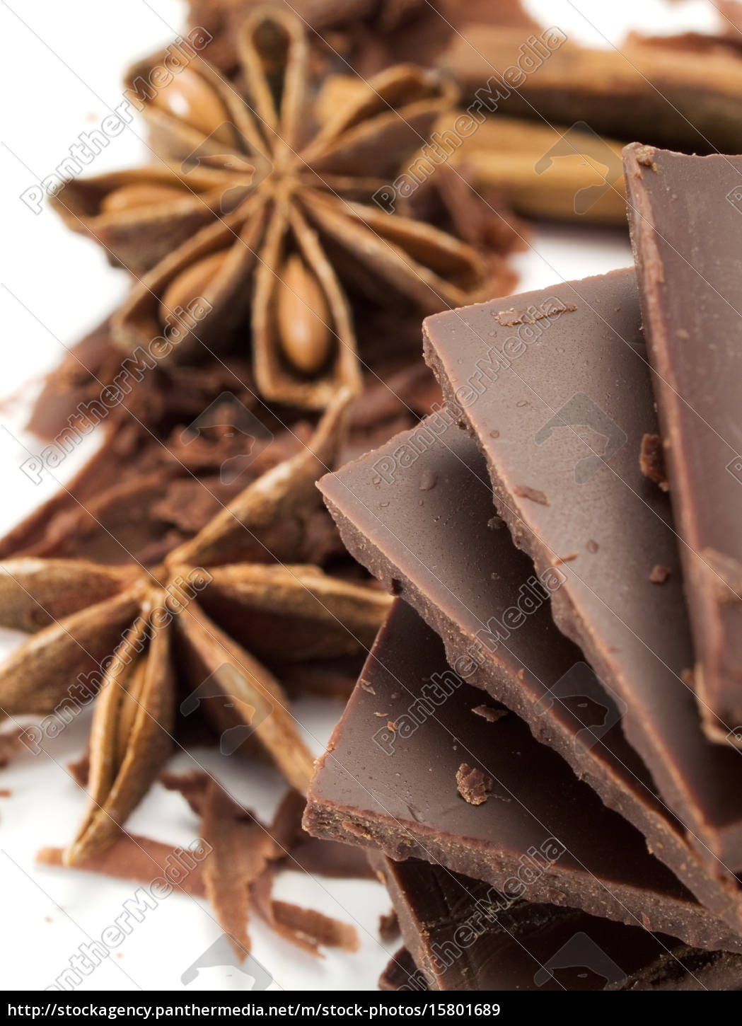 chocolate, with, cinnamon, sticks, and, anise - 15801689
