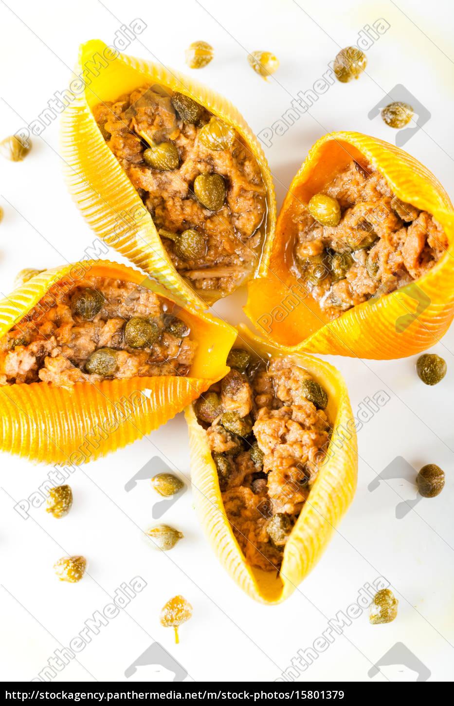 conchiglioni, with, tuna, fish, and, capers, conchiglioni - 15801379