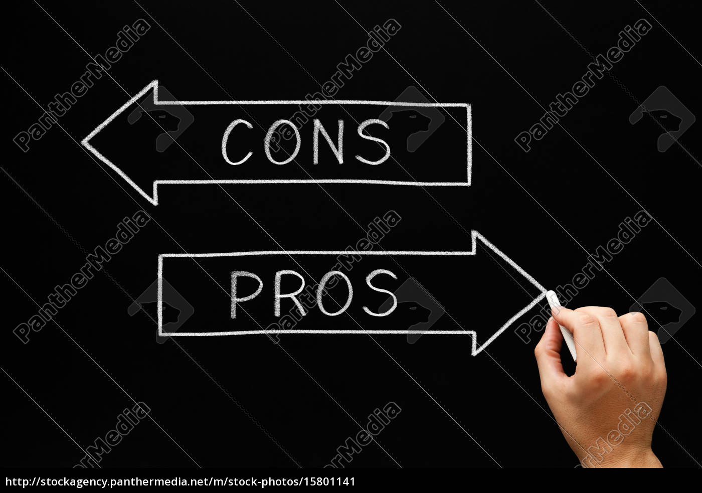 pros, cons, arrows, blackboard - 15801141