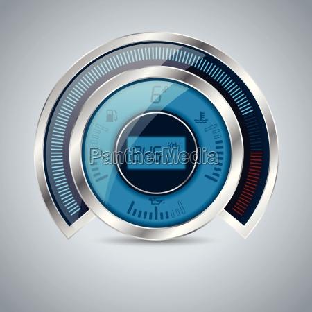 alle digital metallisk skinnende speedometer omdrejningstaeller