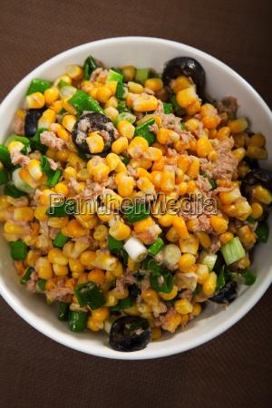 salad with tuna fish and white