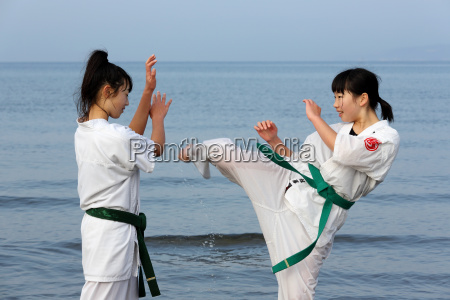 japanese karate girls training at the