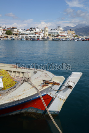 ierapetra crete coast church fishing boat
