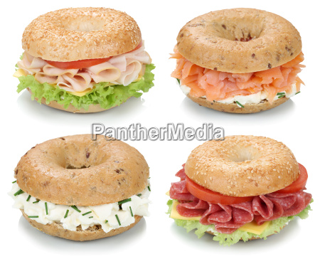 collage of bagels for breakfast with