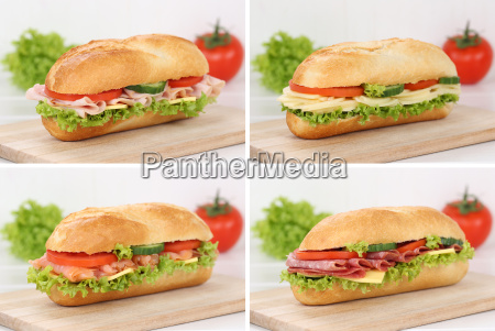 collage of sandwiches baguettes for breakfast