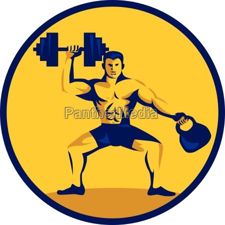 athlete lifting kettlebell dumbbell circle retro