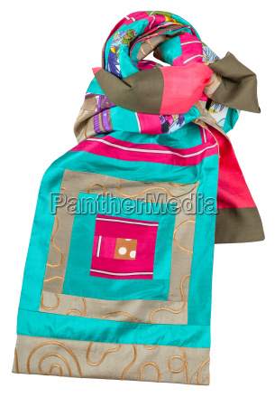 knotted patchwork silk scarf with square