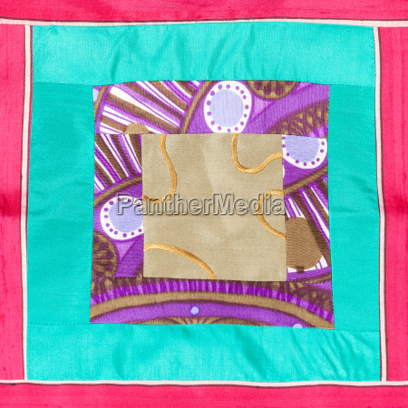 square applique of patchwork cloth