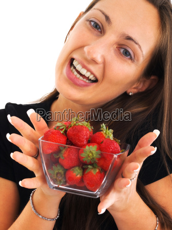 young woman with strawberries young woman