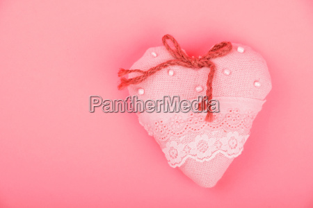pink toy textile lace heart with