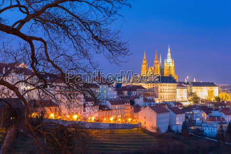 gold prague castle at night czech