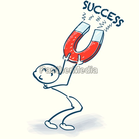 stick figure with magnet and success