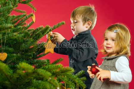 brother and sister hanging christmas tree