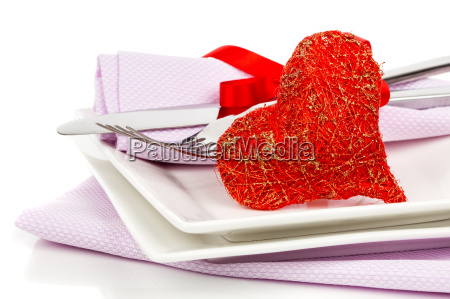 red heart with fork valentine dinner