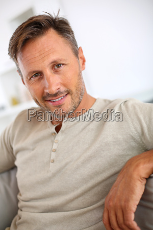handsome 40 year old man relaxing