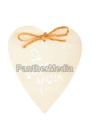 painted wooden heart with rope isolated