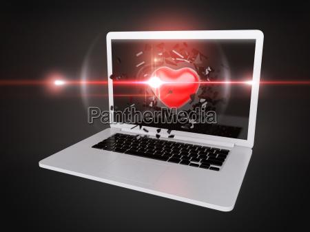 red heart destroy laptop