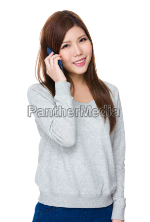 asian young woman chat on mobile