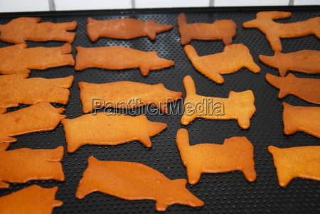 various newly baked gingerbread figures