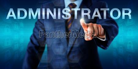 executive pressing administrator onscreen