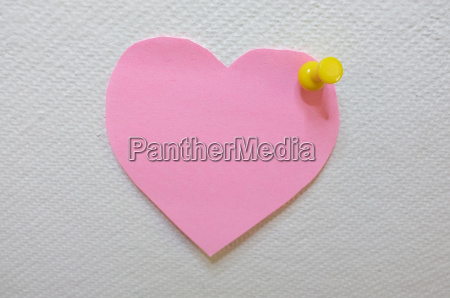 note paper in heart shape with