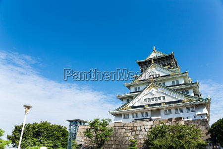 osaka castle in japan with clear