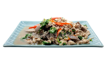 stir fry basil leaves with pork