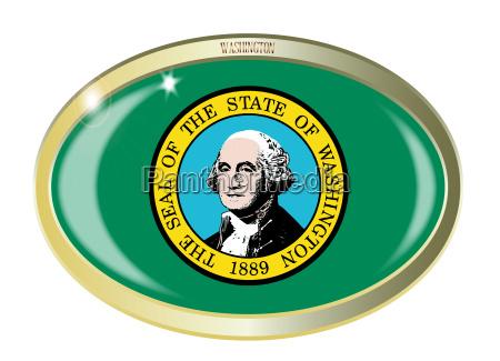 washington state flag oval button