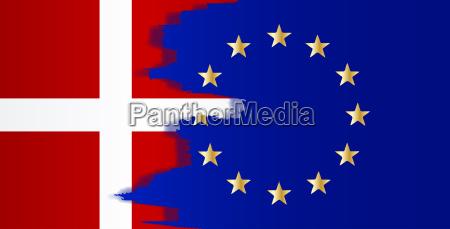 denmark and eu flags blend