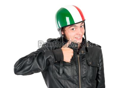 teen with helmet