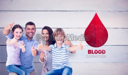 composite image of happy family gesturing