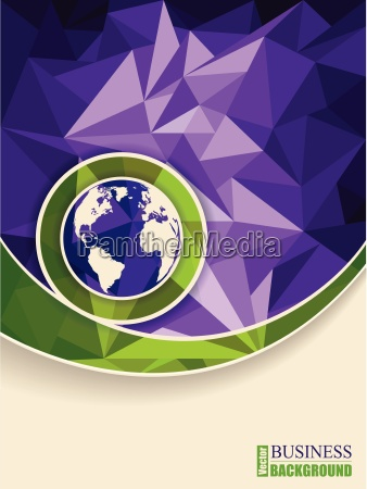 abstract green purple brochure with polygons