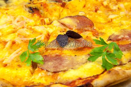 delicious pizza in a restaurant