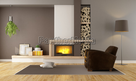 living room with fireplace and leather