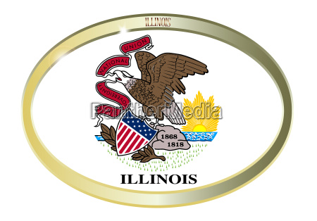 illinois state flag oval button