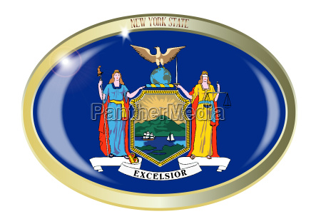 new york state flag oval button