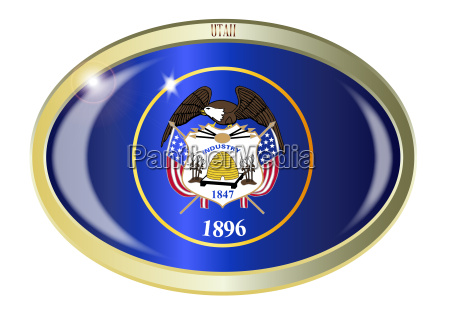 utah state flag oval button